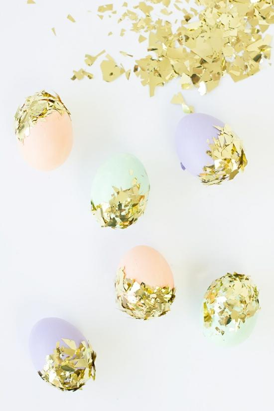ostereier färben konfetti methode