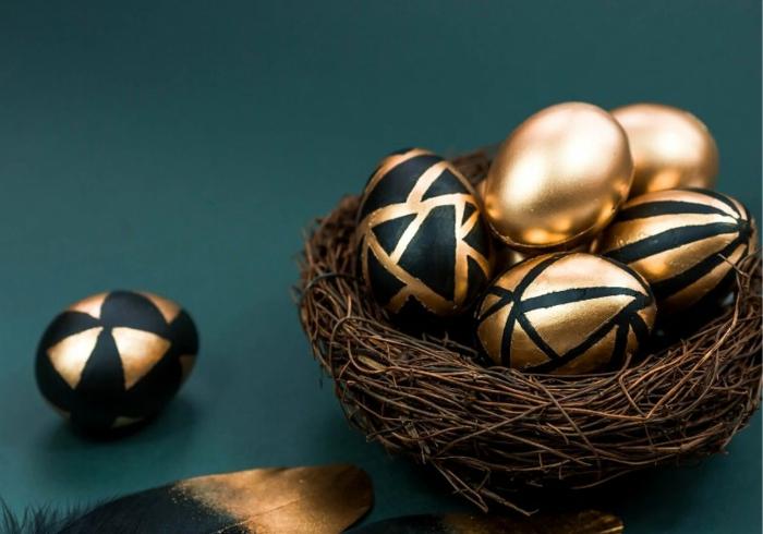 osternest backen osternest basteln naturmaterialien vogelnest ostergras gold