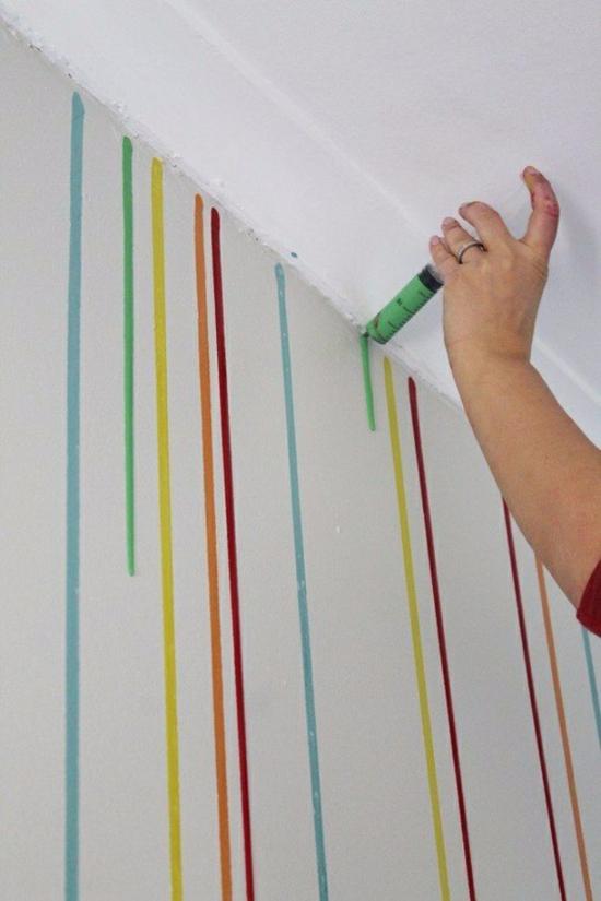 streichtechniken kreative wandgestaltung farbspritzen