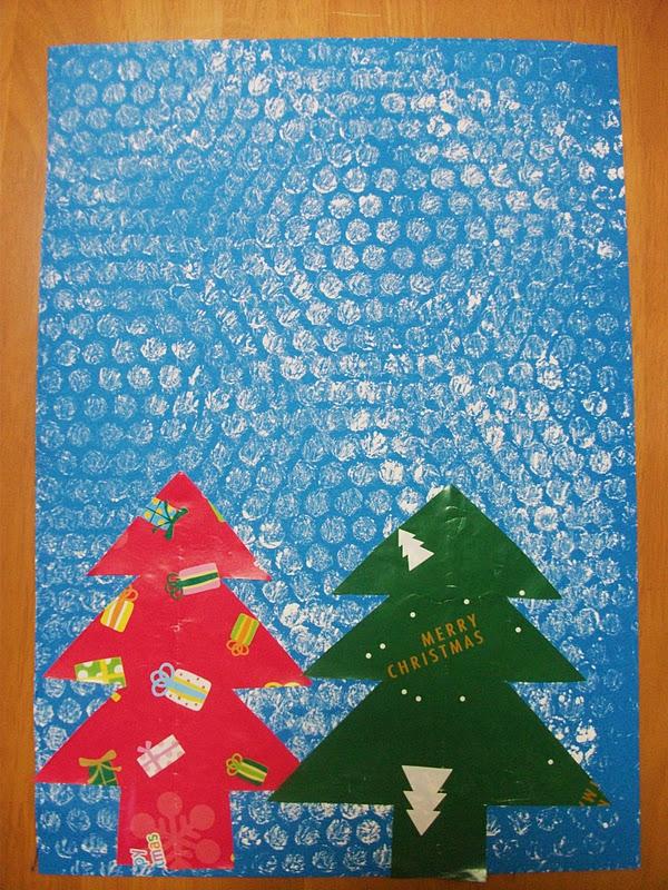 weihnachtskarten basteln mit luftpolsterfolie