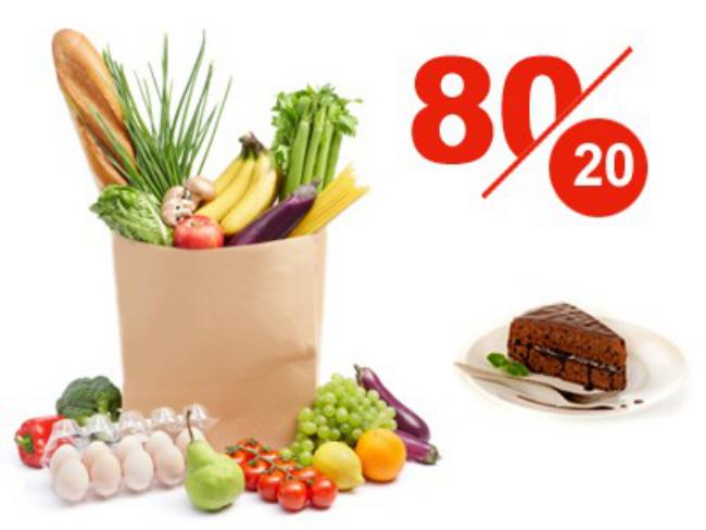 8020-Regel das Geheimnis 80 Prozent frisches Gemüse Obst Naturprodukte 20 Prozent etwas Süßes ein Stück Torte