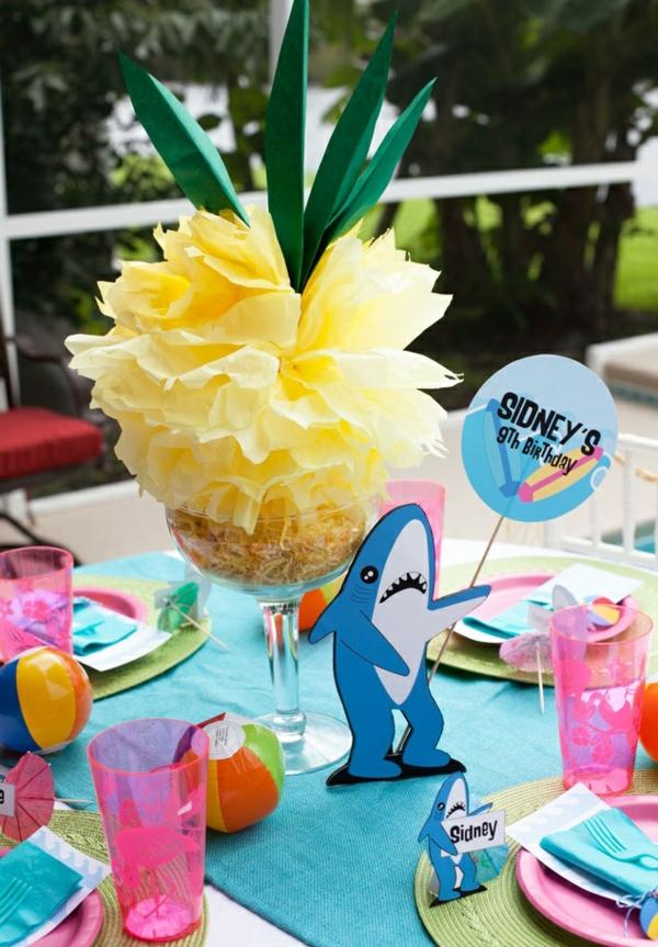 Ananas basteln Seidenpapier Pompon Partydekoration basteln