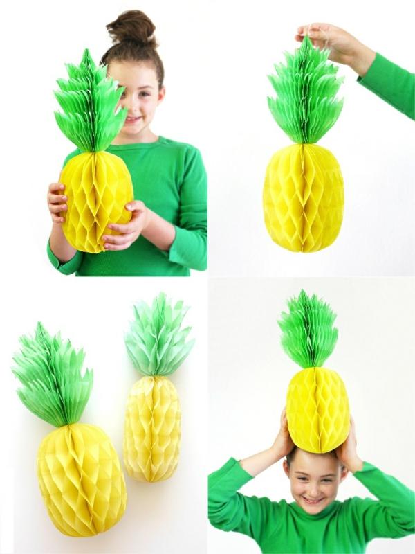Ananas basteln Wabenbälle gelb und grün Bastelideen