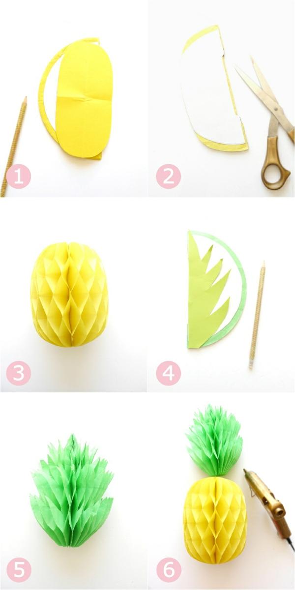 Ananas basteln Wabenbälle gelb und grün Schritt für Schritt Anleitung
