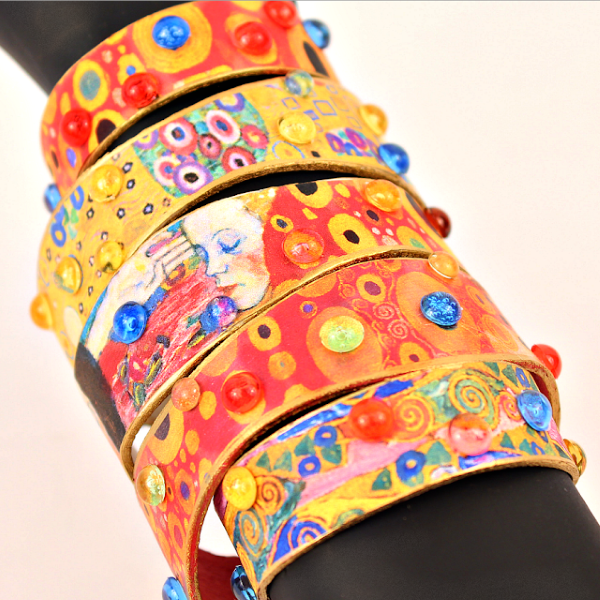 Basteln mit Eisstielen – coole Recycling-Bastelideen und Anleitung gustav klimt kunst armbänder