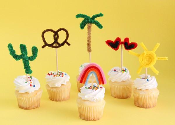 Basteln mit Pfeifenreinigern – 60 Bastelideen zum einfachen Nachmachen muffin deko party sommer