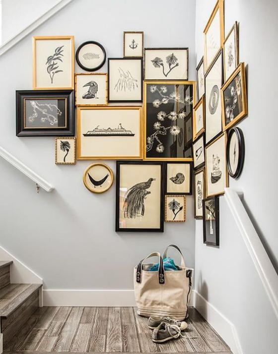 Fotowand im Treppenhaus Nonplusultra super kreative Gestaltung Bilder in Schwarz und Hellbraun