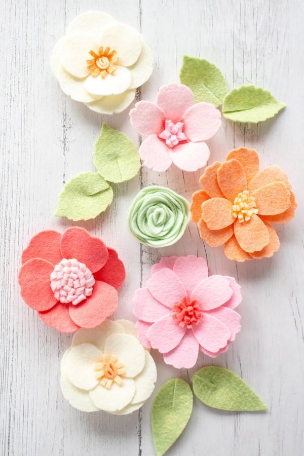 Frühlingsblumen basteln mit Kindern – Ideen und Anleitung für Anfänger und Profi-Bastler blumen aus filz schön