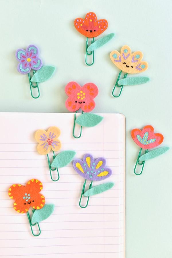 Frühlingsblumen basteln mit Kindern – Ideen und Anleitung für Anfänger und Profi-Bastler lesezeichen clips idee
