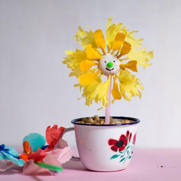 Frühlingsblumen basteln mit Kindern – Ideen und Anleitung für Anfänger und Profi-Bastler lustige blume gesicht