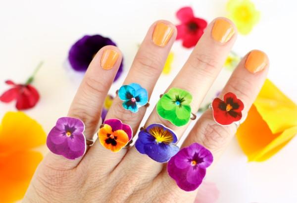 Frühlingsblumen basteln mit Kindern – Ideen und Anleitung für Anfänger und Profi-Bastler ringe schrumpfkunststoff