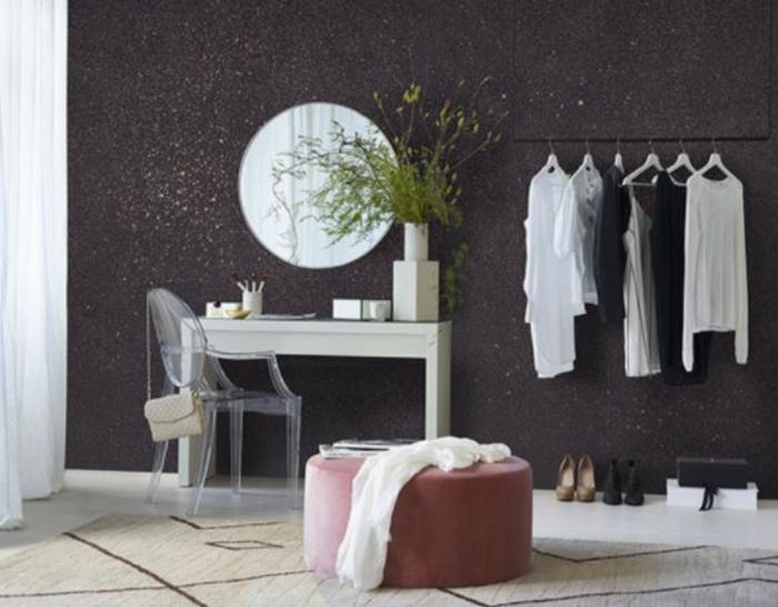Glitzer Wandfarbe silber wandtapete garderobe ankleidezimmer