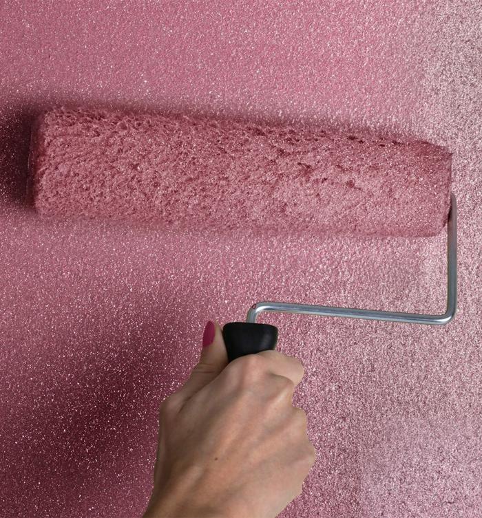Glitzer Wandfarbe silber wandtapete werkzeug
