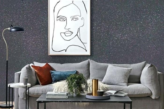 Glitzer Wandfarbe silber wandtapette wohnzimmer