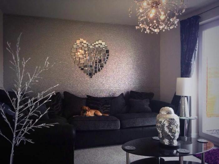Glitzer Wandfarbe silber wandtapette wohnzimmerideen