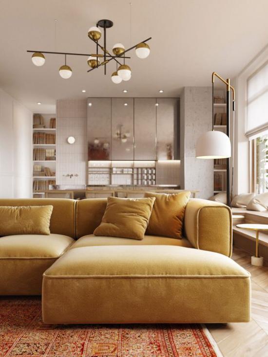 Mehr Farbe ins Interieur Ecksofa in Goldgelb Blickfang im Wohnzimmer