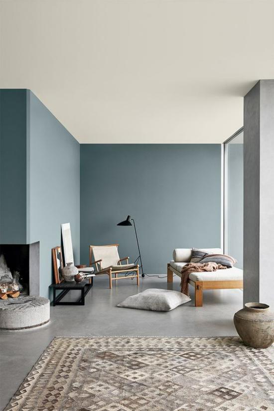 Mehr Farbe ins Interieur bringen cooles Pastellblau Wohnzimmer heitere Stimmung