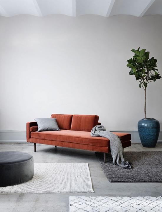 Mehr Farbe ins Interieur graues Wohnzimmer Sofa in Orange graue Wurfdecke Teppiche Grünpflanze im Topf