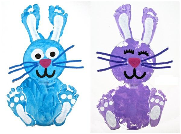 Osterbasteln mit Kindern Osterhasen Fußabdruck
