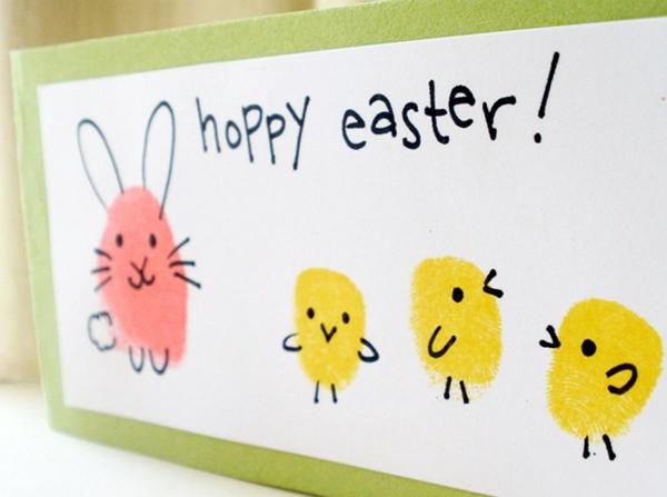 Osterbasteln mit Kindern Osterhasen Osterküken Handabdruck Kind