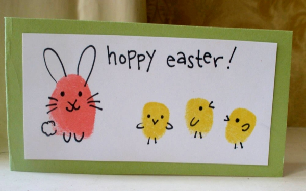 Osterbasteln mit Kindern Osterhasen Osterküken Handabdruck