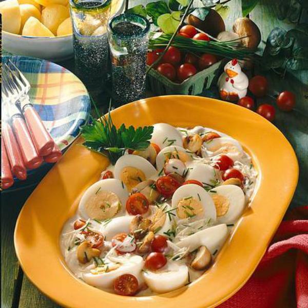 Ostereier verwerten vegetarisches Eierragout schmeckt lecker ist leicht zuzubereiten