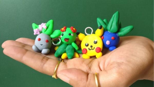 Pokemon basteln mit Kindern – fantastische Ideen und Bastelanleitung fimo pokepom ideen