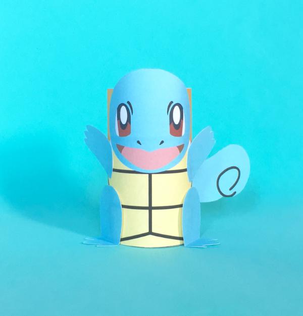 Pokemon basteln mit Kindern – fantastische Ideen und Bastelanleitung klorolle schiggy idee