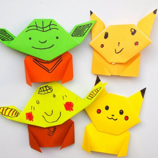 Pokemon basteln mit Kindern – fantastische Ideen und Bastelanleitung origami pikachu und yoda