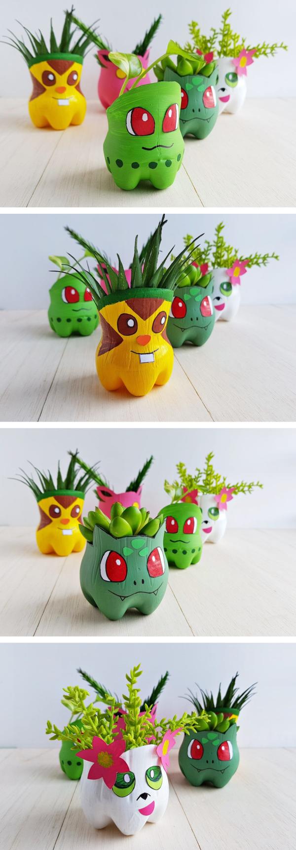 Pokemon basteln mit Kindern – fantastische Ideen und Bastelanleitung plastikflaschen pflanzen blumentopf