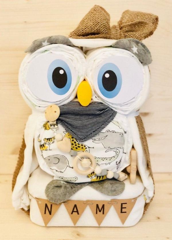 Windeleule basteln – Ideen und Anleitung für Ihre nächste Baby Shower Party braun windeltorte schön