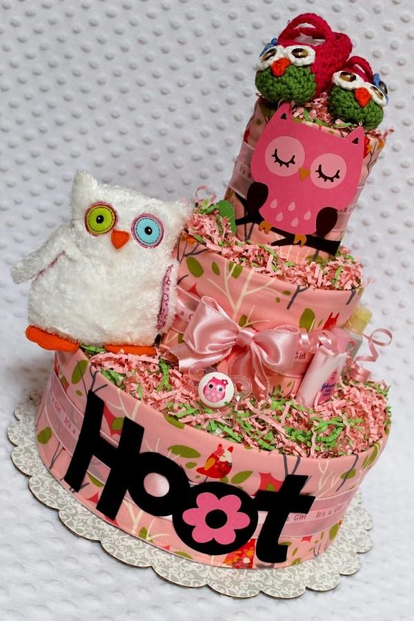 Windeleule basteln – Ideen und Anleitung für Ihre nächste Baby Shower Party windeltorte schön rosa motiv