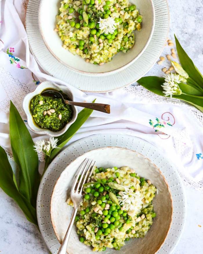bärlauch rezepte vegan peso und erbsen risotto