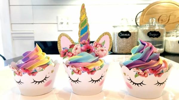 einhorn muffins bunte regenbogenfarben