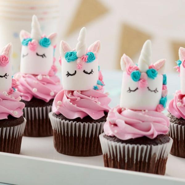 einhorn muffins schokolade rosa creme