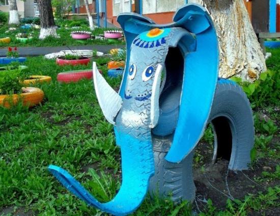 elefant aus reifen basteln gartendeko ideen