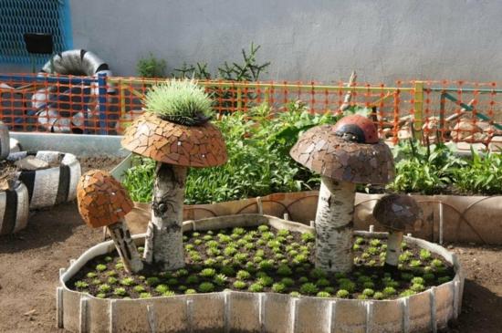 gartendeko ideen selbermachen pilze gartenbeet