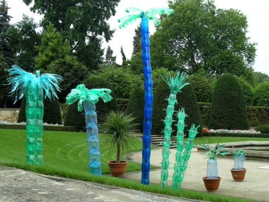 gartendeko selber machen palmen aus plastikflaschen