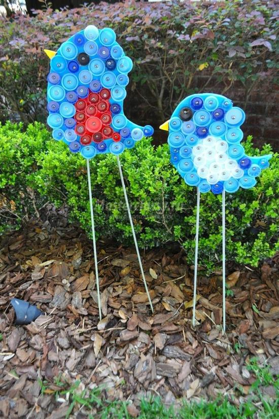 gartendeko selber machen vögel aus plastik