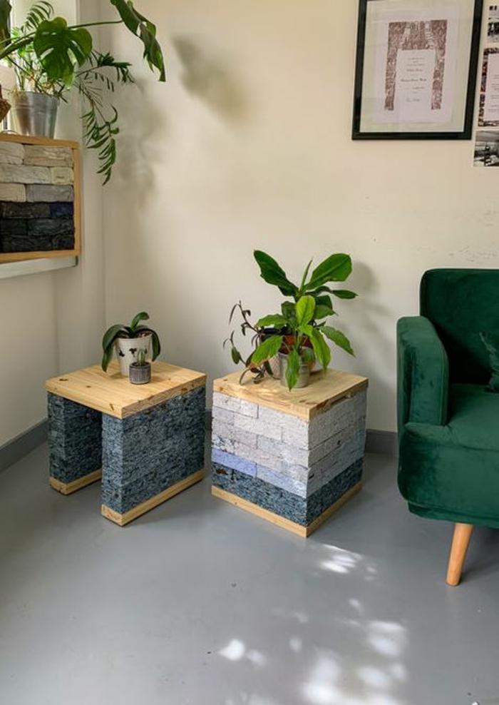 kleidung recycling bausteien deko ideen beistelltisch recycled material