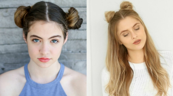 messy space buns kurz und langes haar