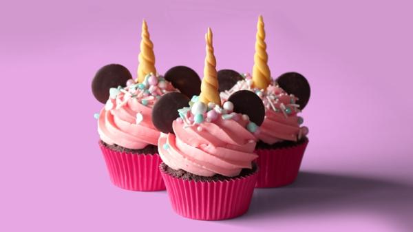 rosa einfache einhorn muffins