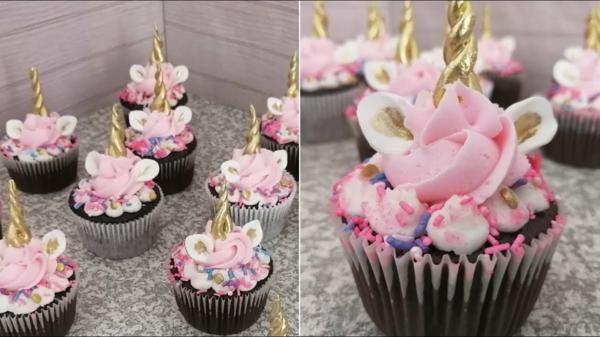 rosa einhorn muffins zum kindergeburtstag