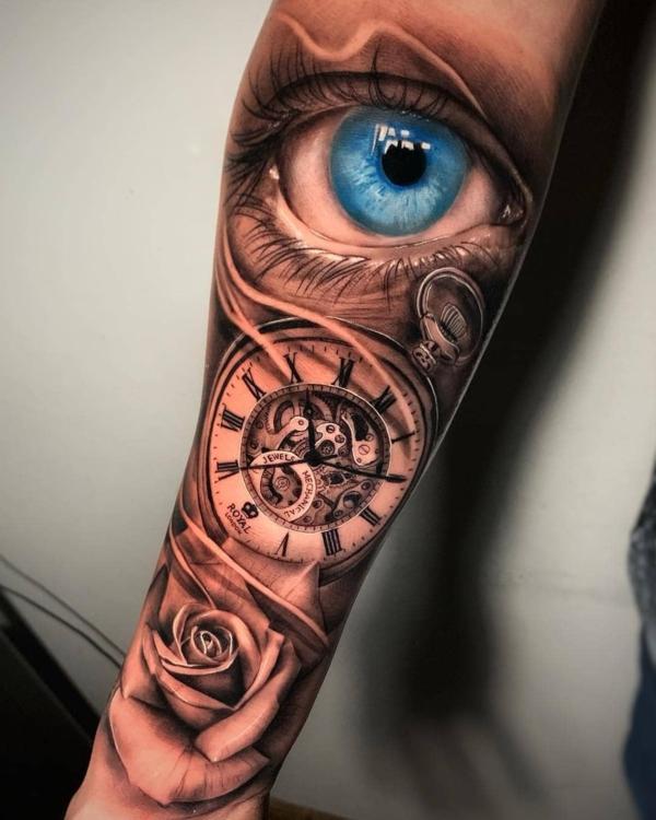 3d tattoo ärmel bunte tätowierung auge