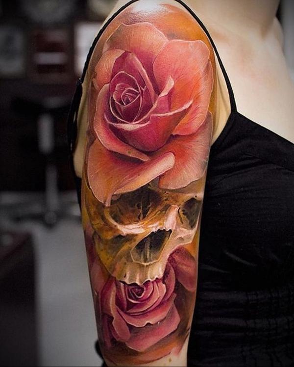 3d tattoo ärmel rosen totenkopf
