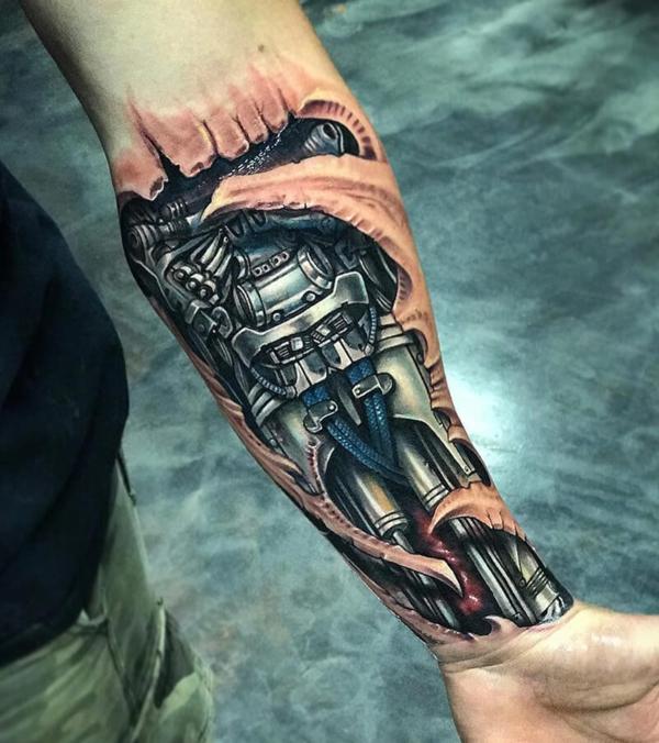 3d tattoo biomechanik unterarm
