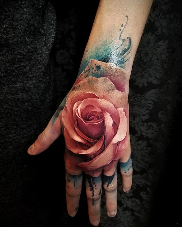 3d tattoo hand oberseite rosen