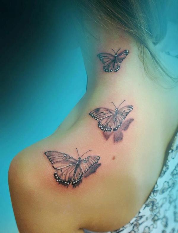 3d tattoo schulter schmetterling