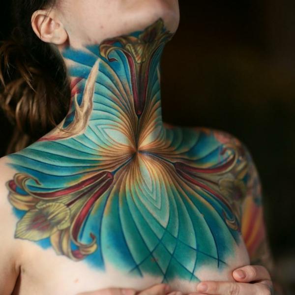 3d tattoos abstrakte motive hals tätowierung