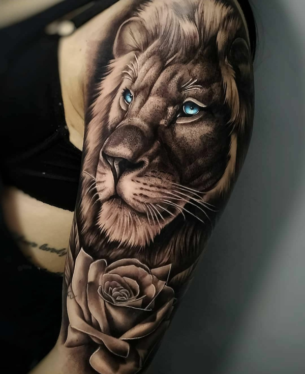 3d tattoos arm löwe rosen